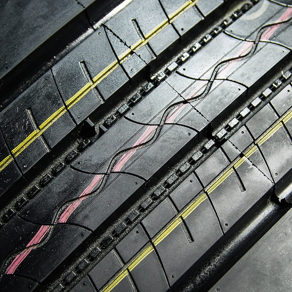 A close up view of the treads on a car tyre