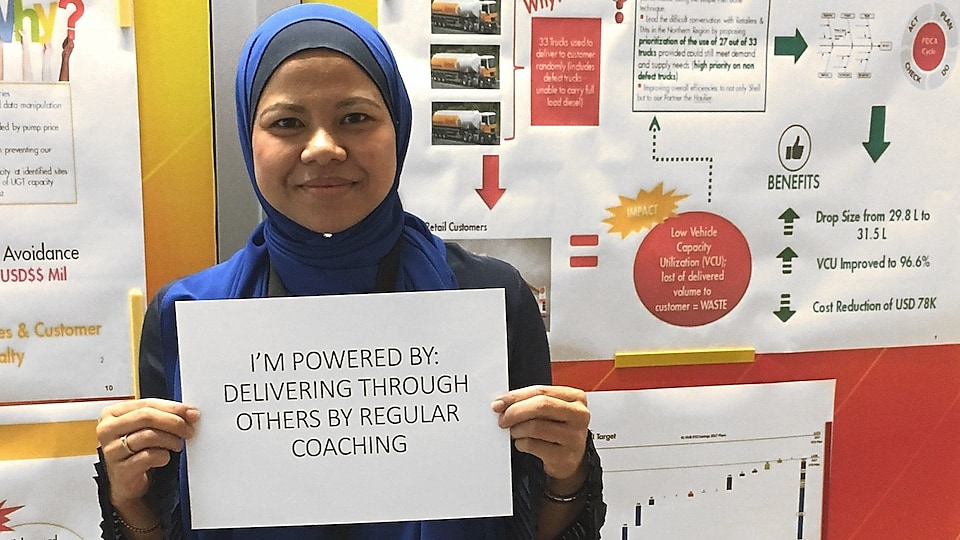 Maria holding a sign that reads 'i'm powered by: delivering through others by regular coaching'