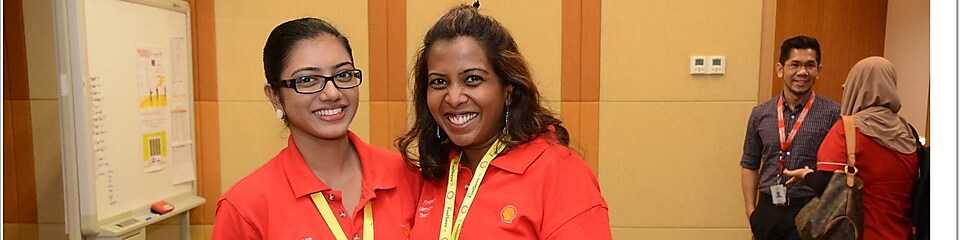 Trisyella Jothiraja with a colleague of hers during a training session at Shell.