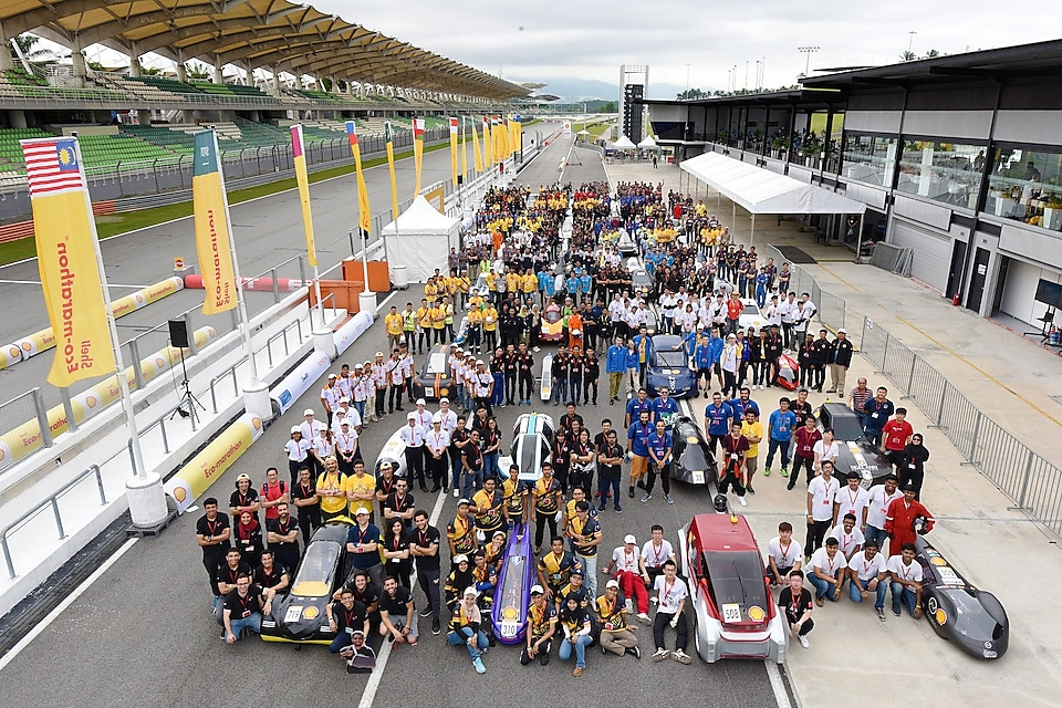 Family photo of some of the participating teams during day two of Shell Make the Future Live Malaysia 2019 at the Sepang International Circuit on Tuesday, April 30, 2019, south of Kuala Lumpur, Malaysia. (Edwin Koo/AP Images for Shell)