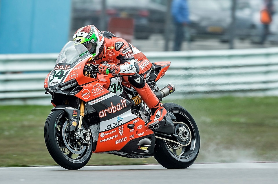 Ducati rider racing on a straight in the superbike world championship