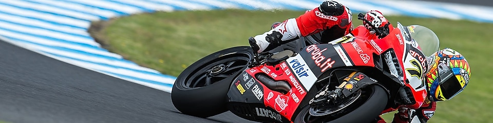 Chaz Davies motorbike on a racetrack