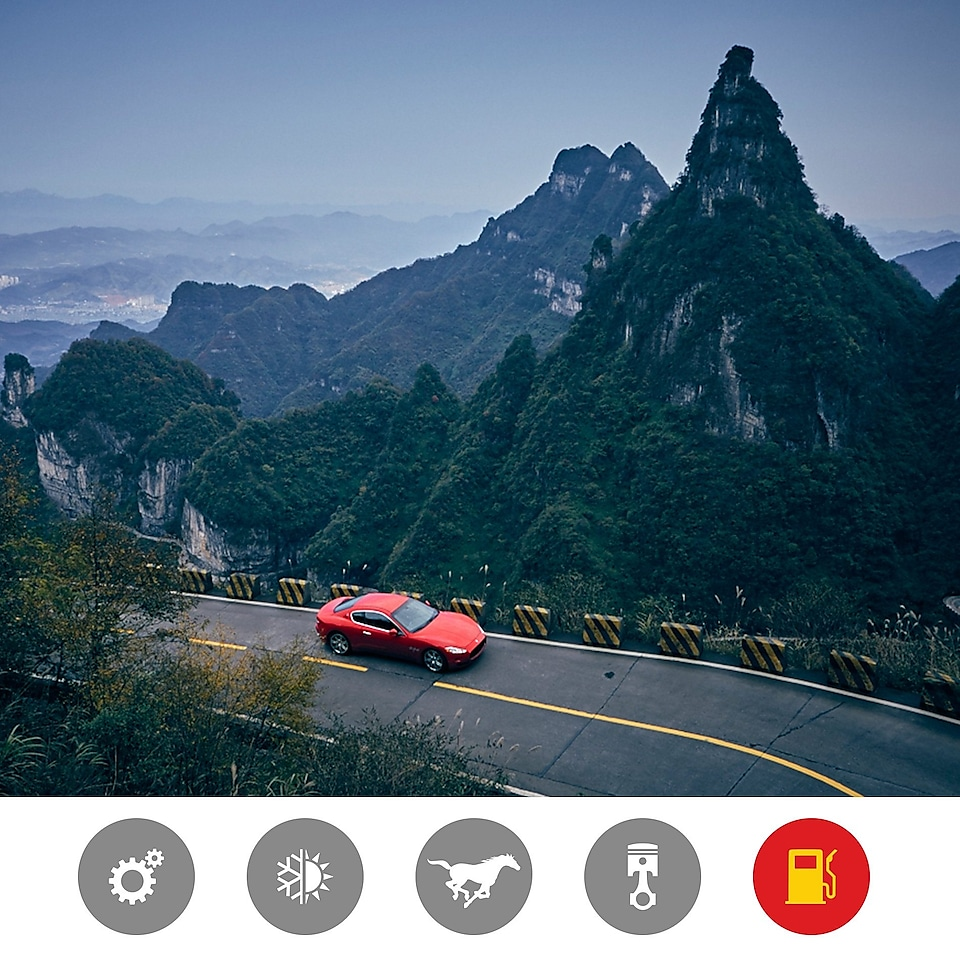 A red Maserati takes a leisure mountain drive to demonstrate the Shell Helix Ultra better fuel economy product benefit